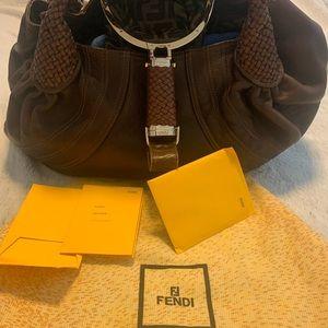 FENDI  brown leather bag 💓